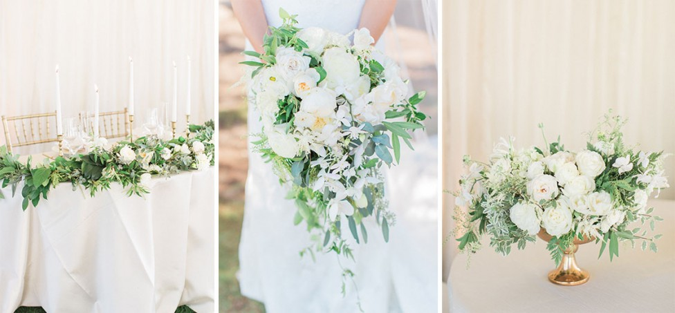 Santa Barbara wedding flowers with garden roses and head table garland