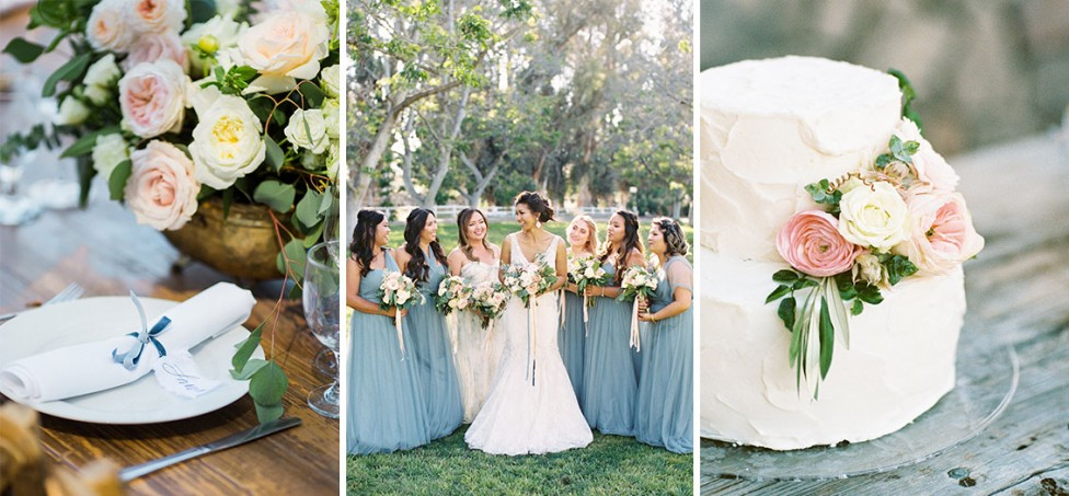 Santa Barbara bridesmaids with bouquets, floral centerpieces, and cake flowers