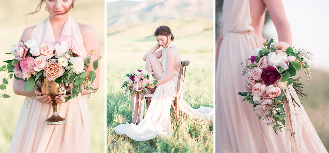 Santa Barbara bridal with garden rose floral design