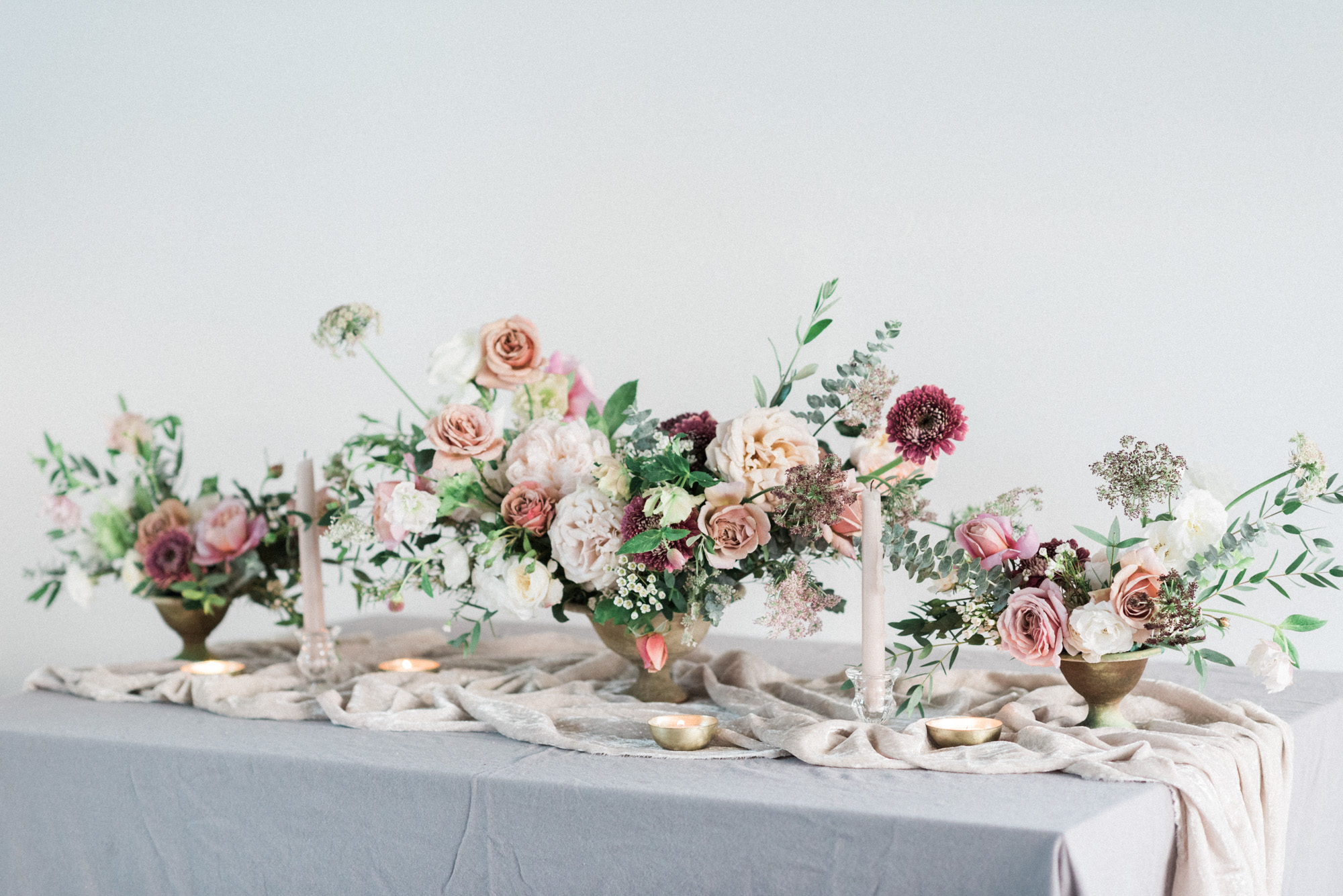 lush garden flowers and table scape for wedding
